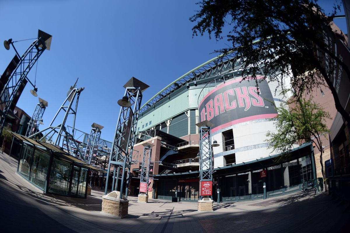 A general view outside of Chase Field prior to the game between the Arizona Diamondbacks and the Los Angeles Dodgers.