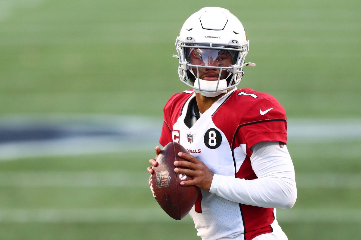 Kyler Murray #1 of the Arizona Cardinals looks to throw a pass against the New England Patriots during the fourth quarter of the game at Gillette Stadium on November 29, 2020 in Foxborough, Massachusetts.