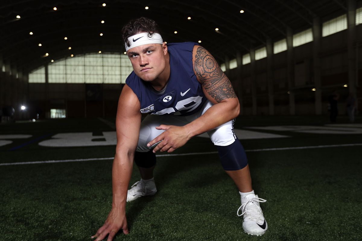 BYU offensive lineman Tristen Hoge poses for a photo at the Indoor Training Facility at BYU in Provo on Wednesday, Aug. 7, 2019.