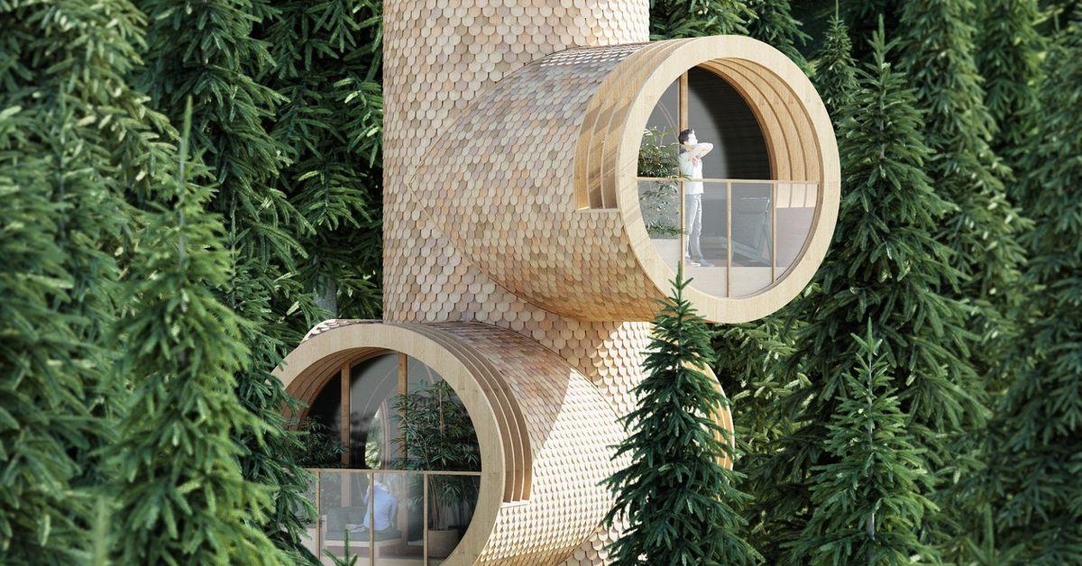 Prefab Treehouses Look Like Periscopes Peeking Through The