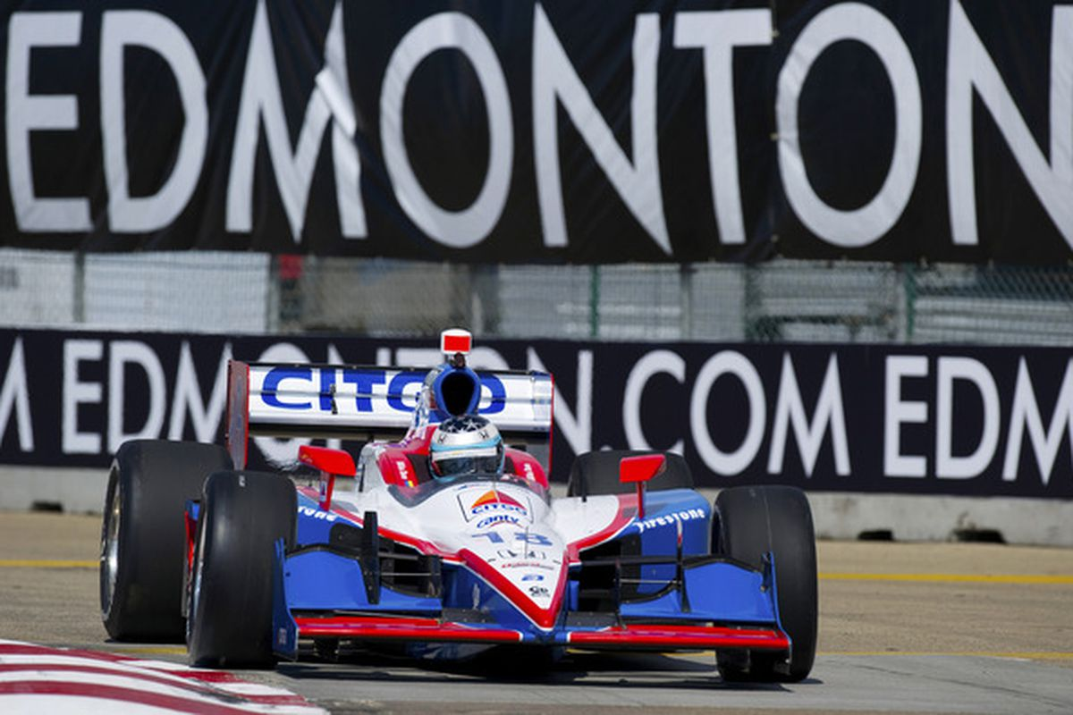 Milka Duno posted a time 11 seconds slower than most of the field just prior to wrecking her car in practice - solo - prior to Sunday's Honda Indy Edmonton in Edmonton, Alberta, Canada. (Photo by Robert Laberge/Getty Images)