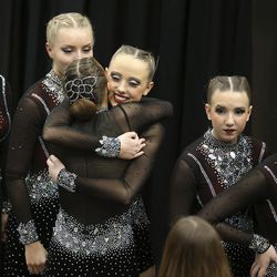 Members of Lehi High School's drill team get ready to compete in the dance category of the 5A state finals at the UCCU Center in Orem on Thursday, Feb. 4, 2021. Other categories are military and show.