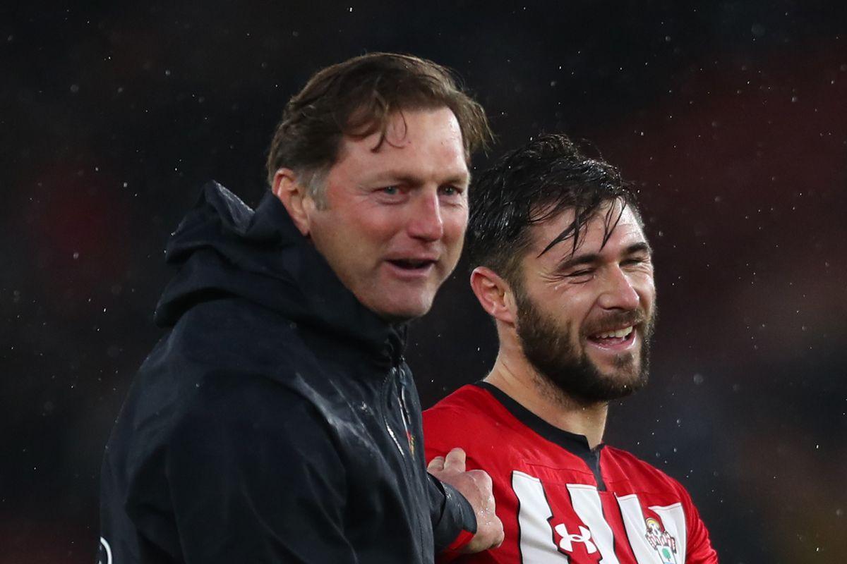 Southampton's Ralph Hasenhuttl celebrating after Saints' Premier League win against Arsenal