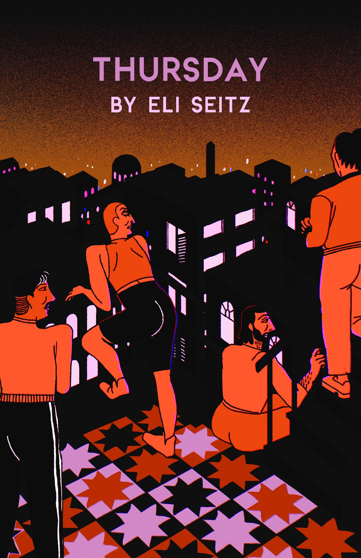 Cover art for Thursday by Eli Seitz shows people gathered on a rooftop at sunset.