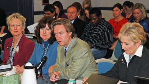 Senate Bill 10-191 sponsors (from left) Carole Murray, Christine Scanlan, Mike Johnston and Nancy Spence at Wednesday's meeting.