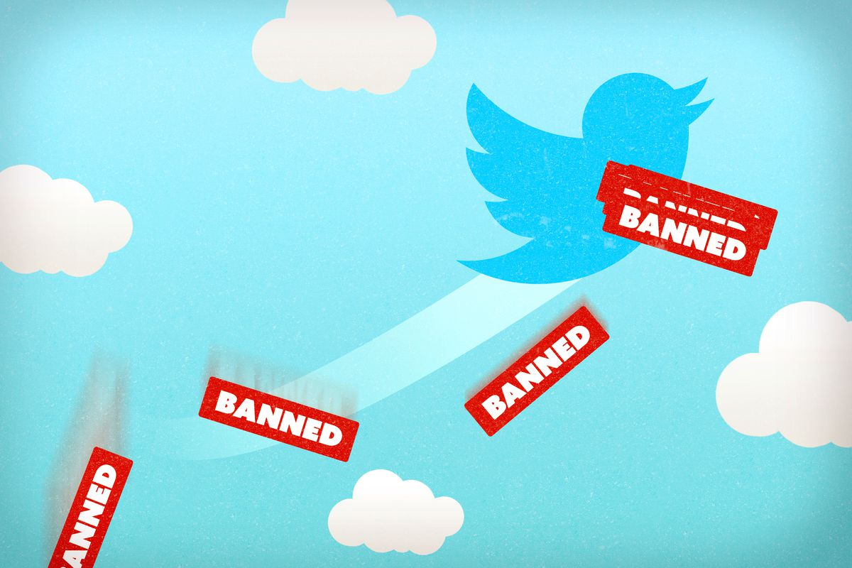 A photo illustration of Twitter banning users for violations of its policies