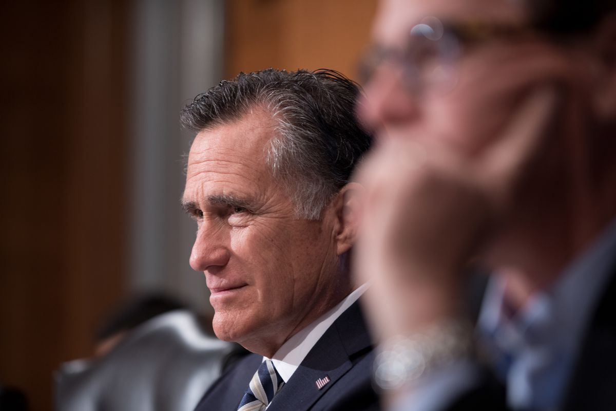 Sen. Mitt Romney sits and listens while attending the HELP Hearing: Implementing the 21st Century Cures Act on Capitol Hill in 2019.