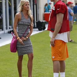 Jul 22, 2013; Davie, FL, USA; Miami Dolphins quarterback Ryan Tannehill (17) and his wife Lauren Tannehill after training camp at the Doctors Hospital Training Facility at Nova Southeastern University.