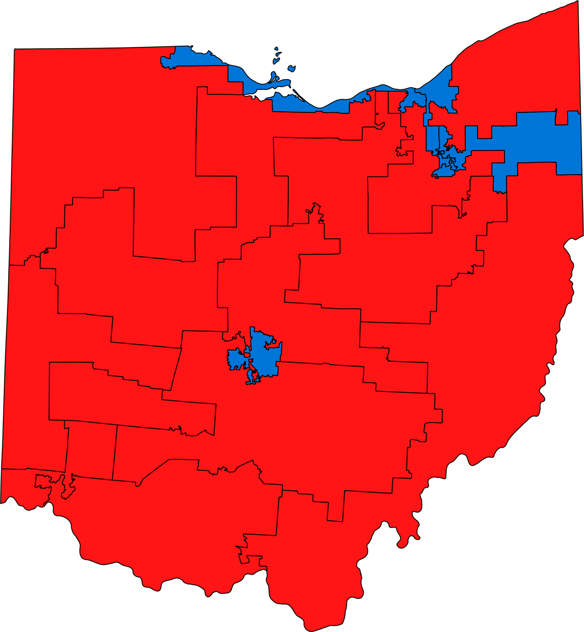 House districts in Ohio, 2011-2013: Map.