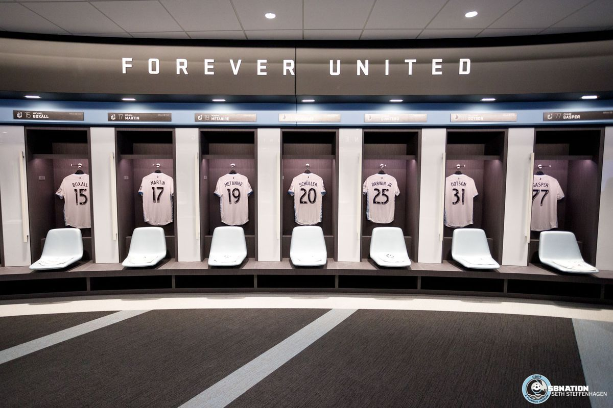 March 18, 2019 - Saint Paul, Minnesota, United States - Kits are on display in the Loons' locker room during the Allianz Field Scarf Raising Ceremony at Allianz Field.   (Photo by Seth Steffenhagen/Steffenhagen Photography)