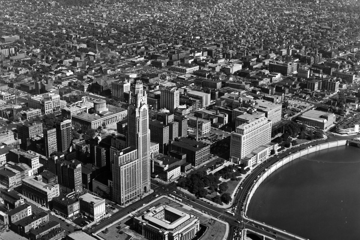 A black-and-white aerial view of the city of Columbus in 1955.