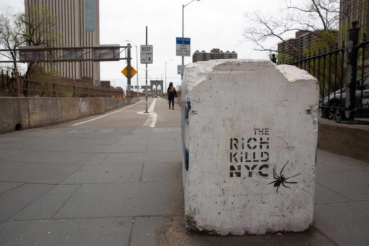 A graffiti artist critiques the city's wealthy class in the early days of the pandemic, April 8, 2020.