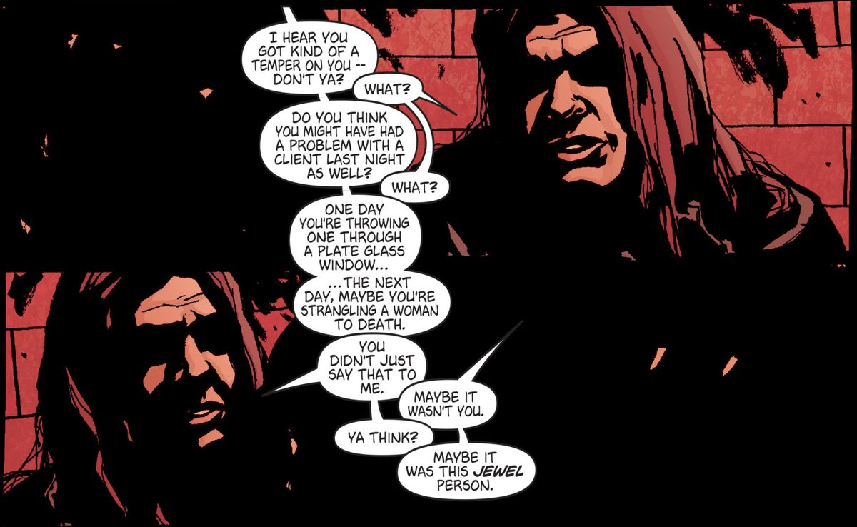 Jessica Jones in a police interrogation room in Alias #3 (2001), Marvel Comics.