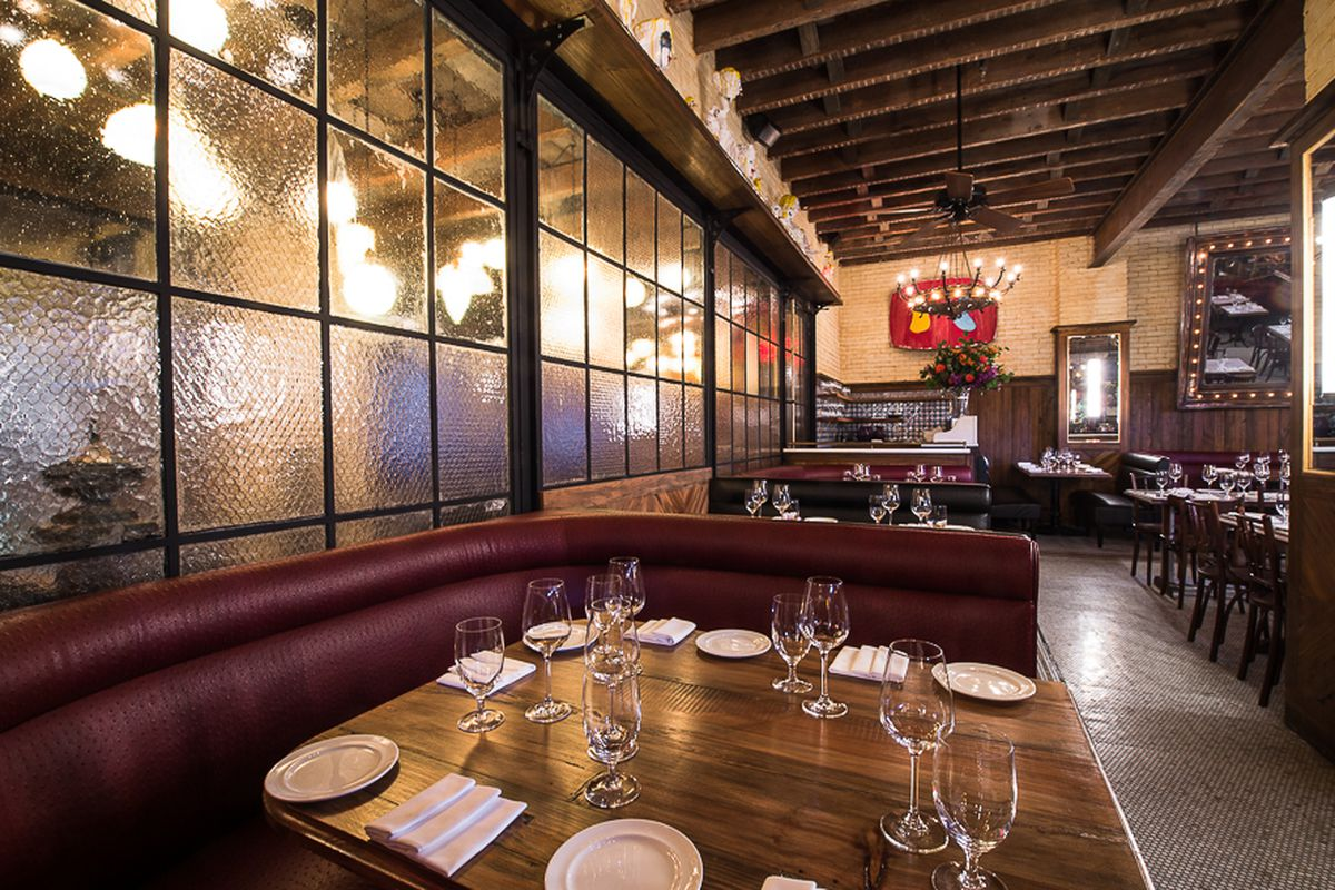 [The dining room at Dirty French.  Strong choice for a Wednesday night dinner, and the lunch menu is solid too.]