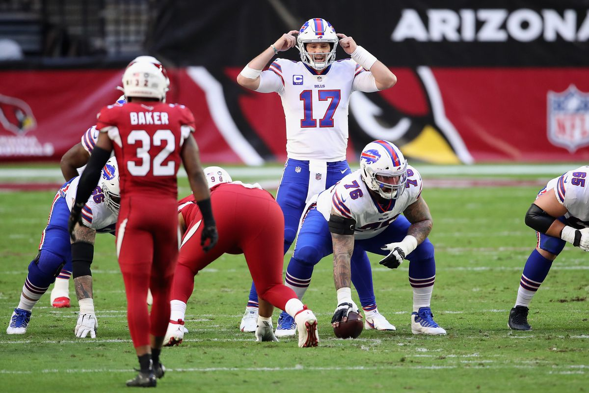 Quarterback Josh Allen #17 of the Buffalo Bills calls a play during the NFL game against the Arizona Cardinals at State Farm Stadium on November 15, 2020 in Glendale, Arizona. The Cardinals defeated the Bills 32-30.
