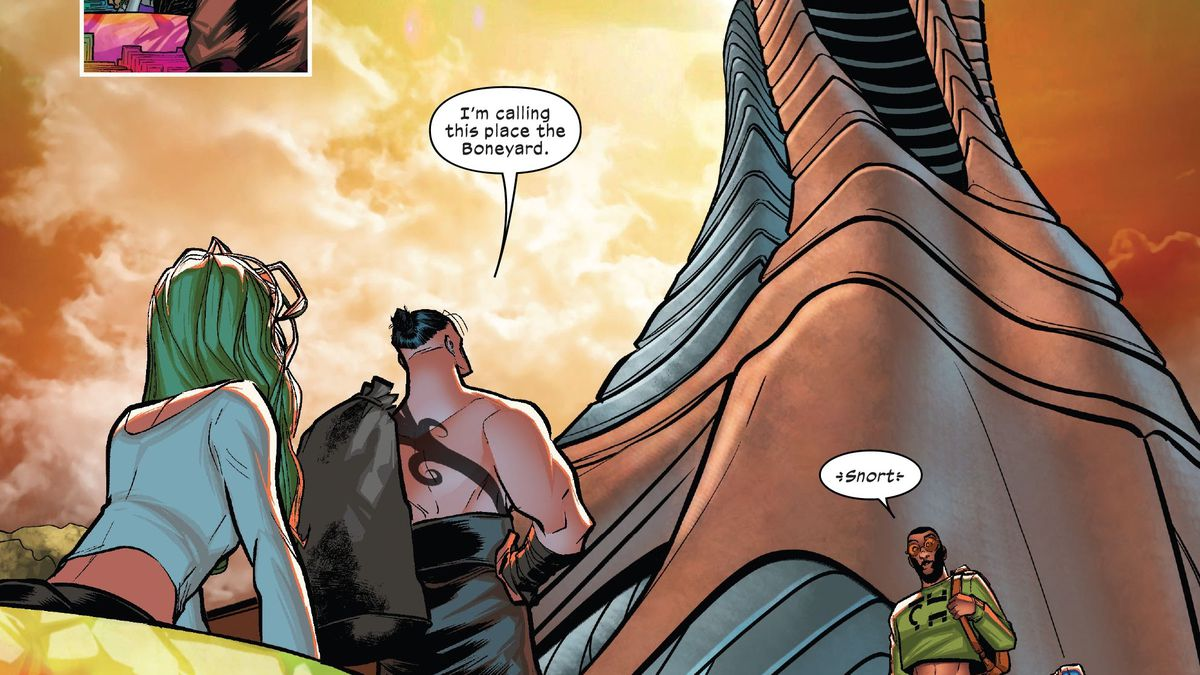 """""""I'm calling this place the Boneyard"""" Daken says after observing the phallic shape of X-Factor's new headquarters in X-Factor #1, Marvel Comics (2020)."""