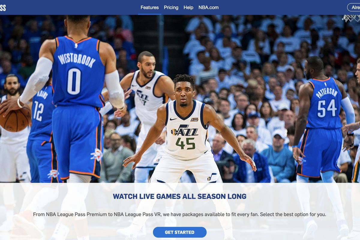 Screenshot of www.nba.com/leaguepass featuring Utah Jazz's Donovan Mitchell getting set to defend Oklahoma City's Russell Westbrook.