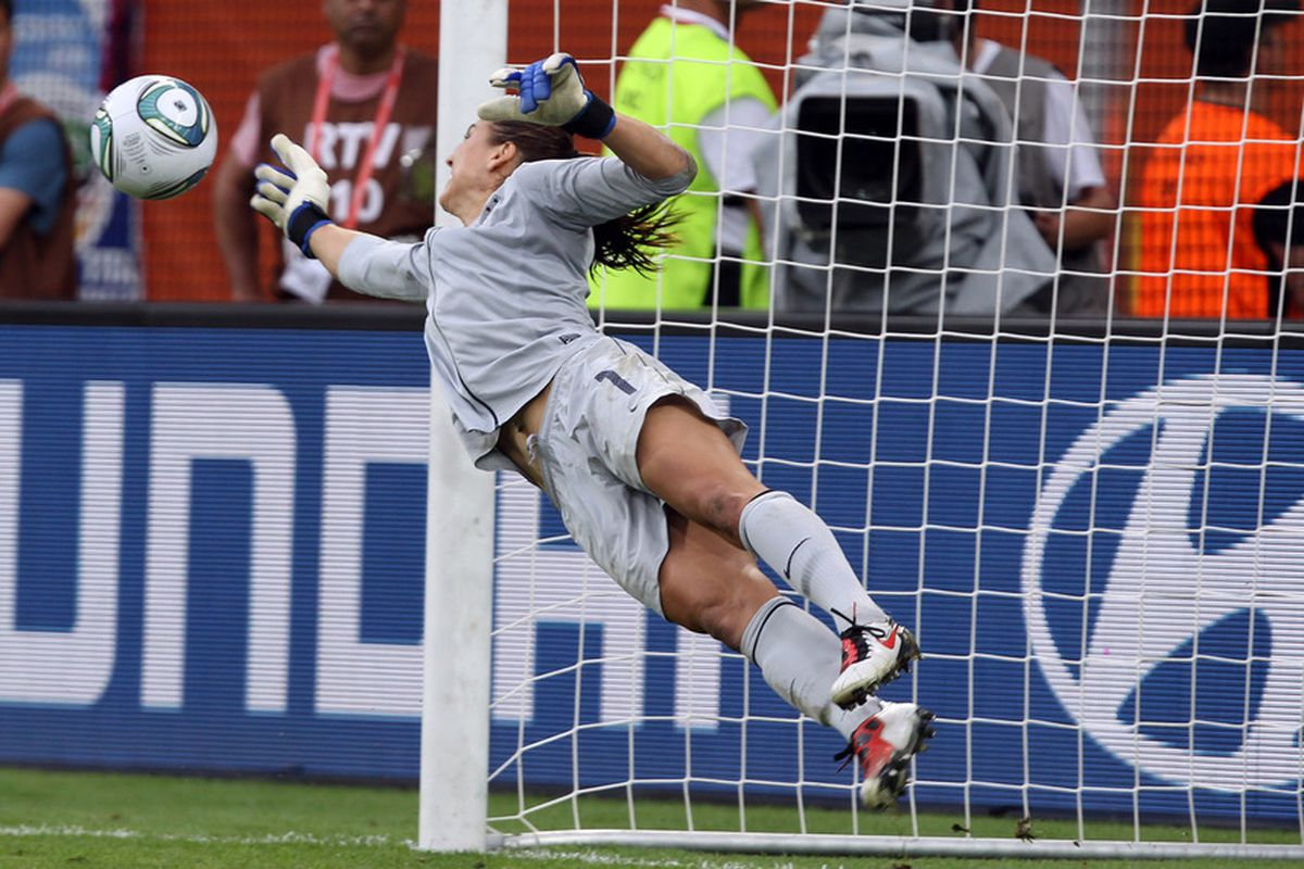 What a save by Hope Solo!.  (Photo by Martin Rose/Getty Images)