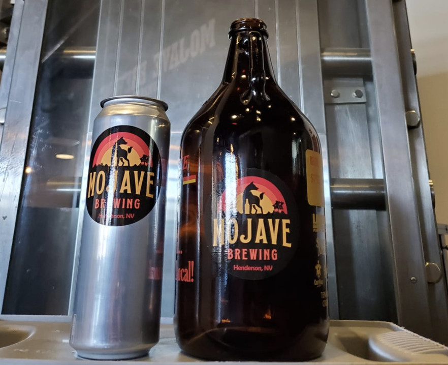 Mojave Brewing Co. beer can and growler