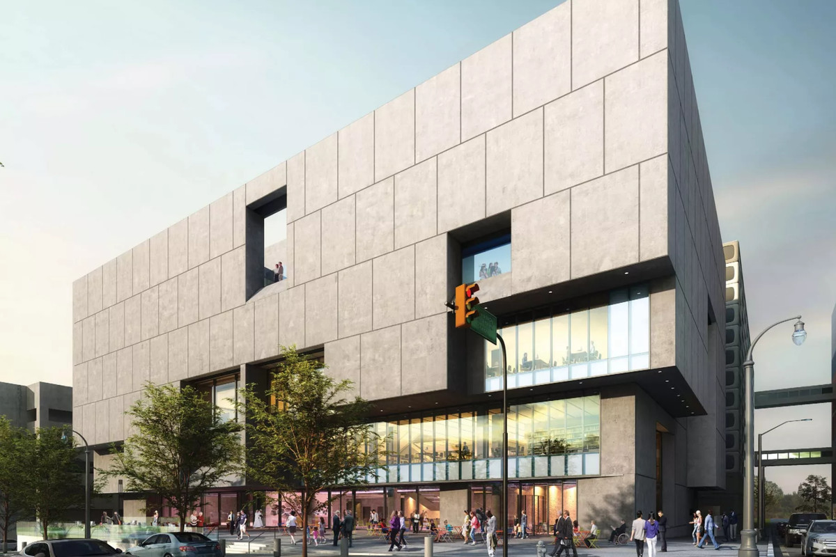 A rendering of Cooper Carry's design shows the windows cut into the side hulking concrete structure.