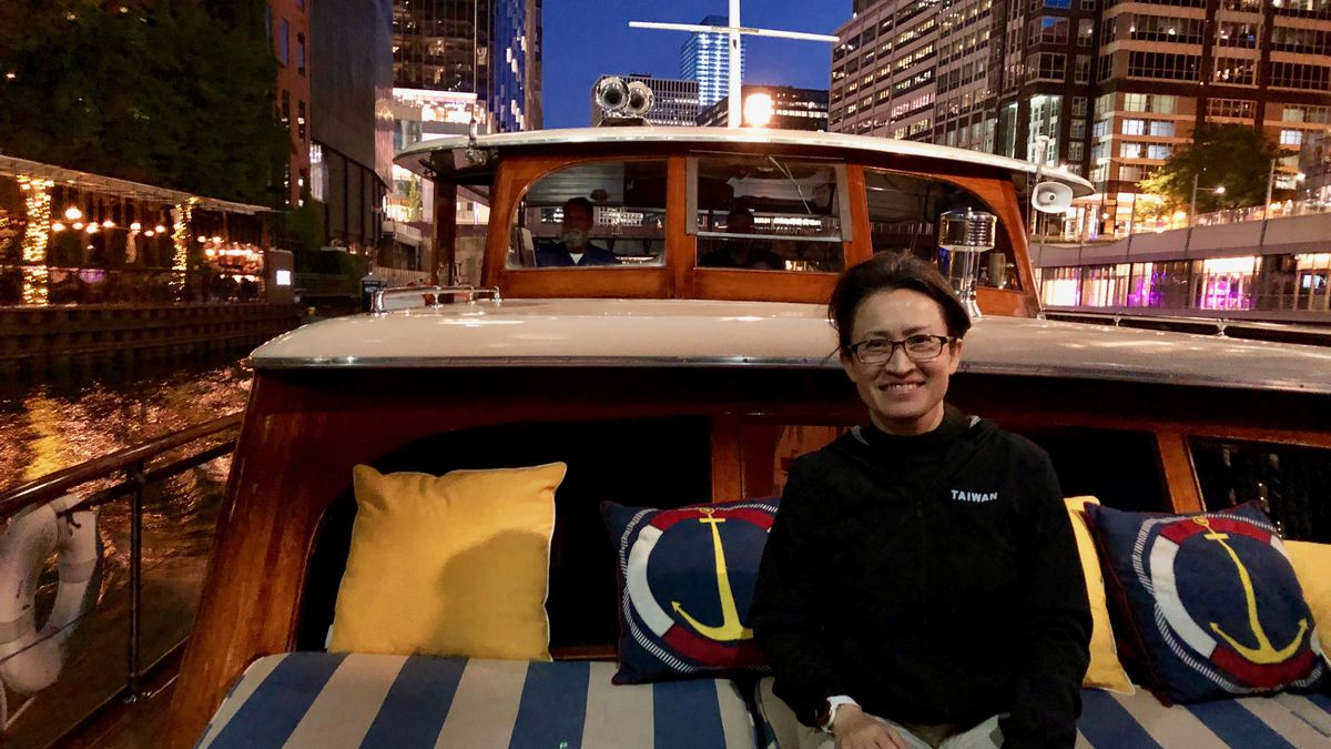 Hsiao Bi-khim, the Taiwanese representative to the United States, taking a tour of the Chicago River on Sept. 28. Her nation is under constant threat by Communist China.