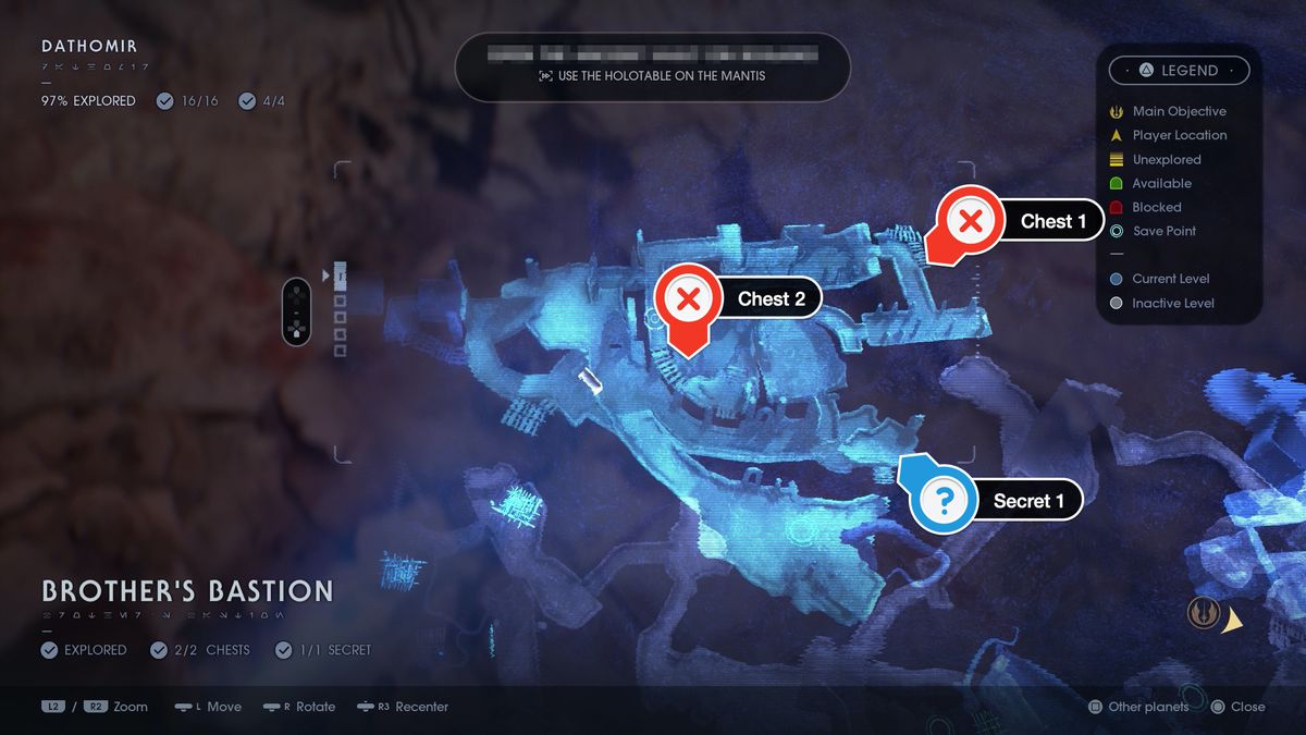 Dathomir Brother's Bastion chest and secret location map