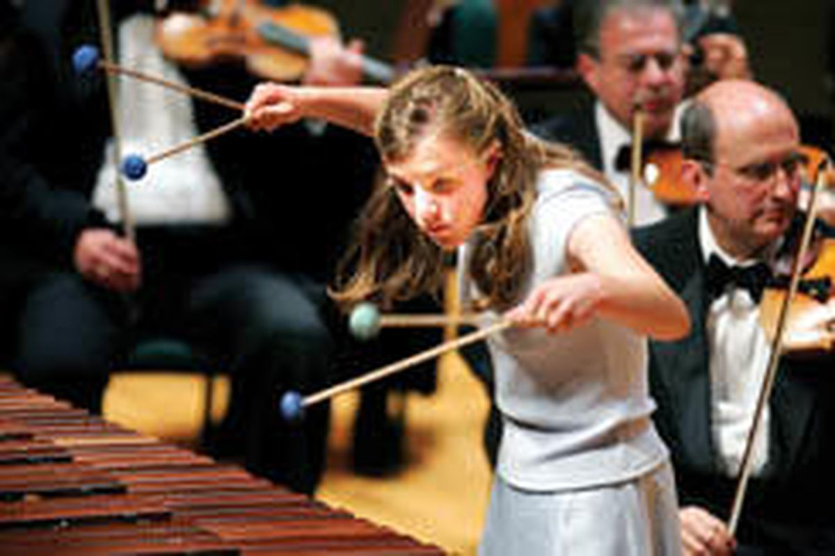 Robyn Peterson plays the marimba during the first movement from Ney Rosauro's Concerto for Marimba and Orchestra.
