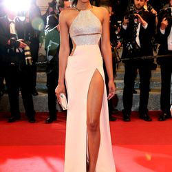Chanel Iman in Kaufman Franco at the 'Hands of Stone' premiere.