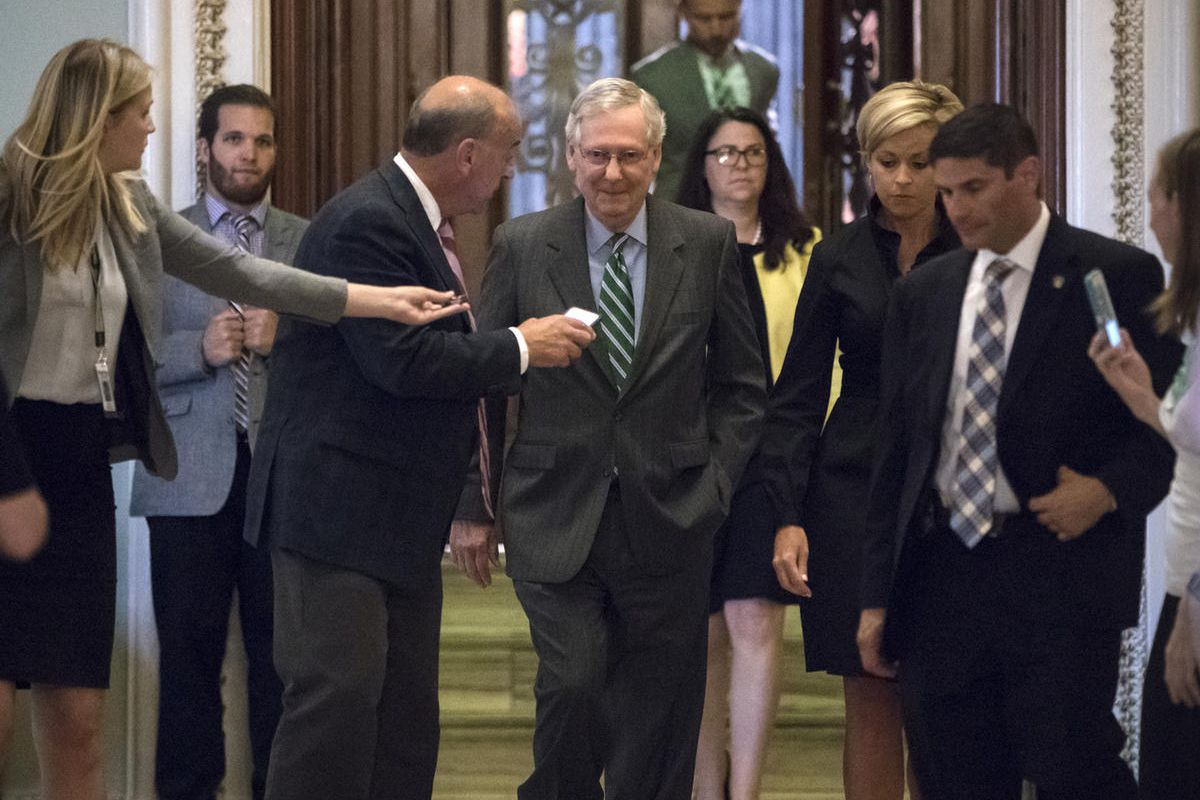 Senate Majority leader Mitch McConnell leaves the chamber after announcing the release of the Republicans' healthcare bill which represents the party's long-awaited attempt to scuttle much of President Barack Obama's Affordable Care Act, at the Capitol in