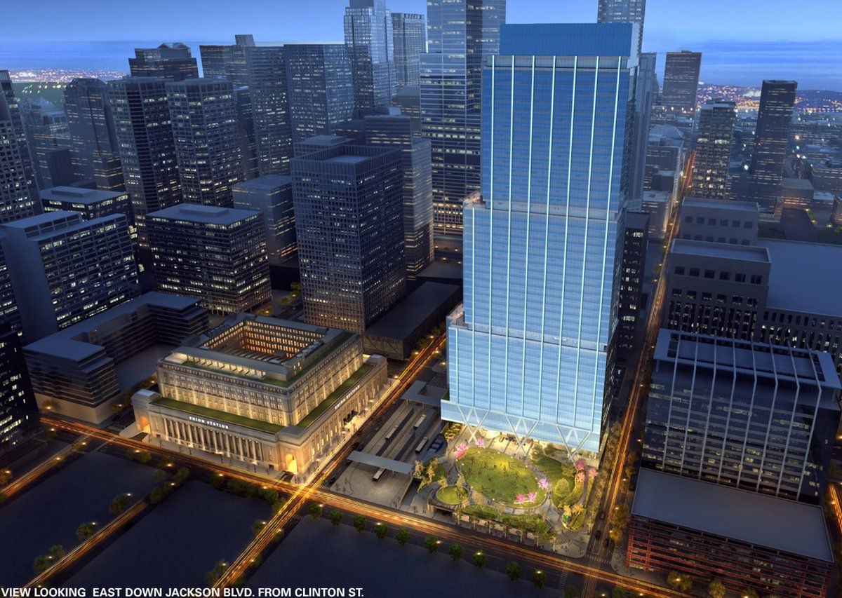 A rendering of the new office tower, and the additional floor on the Head House accommodating more hotel rooms, planned for Union Station.