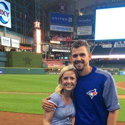 Toronto pitcher Taylor Cole and his wife, Madilyn Cole, at Minute Maid Park, home of the Houston Astros.