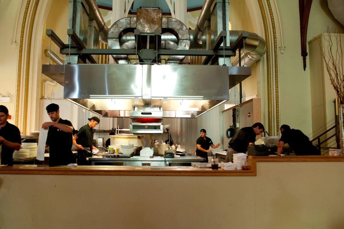 """The scene in the open kitchen at Grace Restaurant in Portland during the recent """"Whole Beast Feast"""""""
