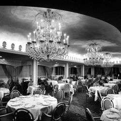 Exquisite chandeliers sparkle like stars in the Hotel Utah's new Sky Room previewed recently by the General Authorities. Feb. 11, 1961.