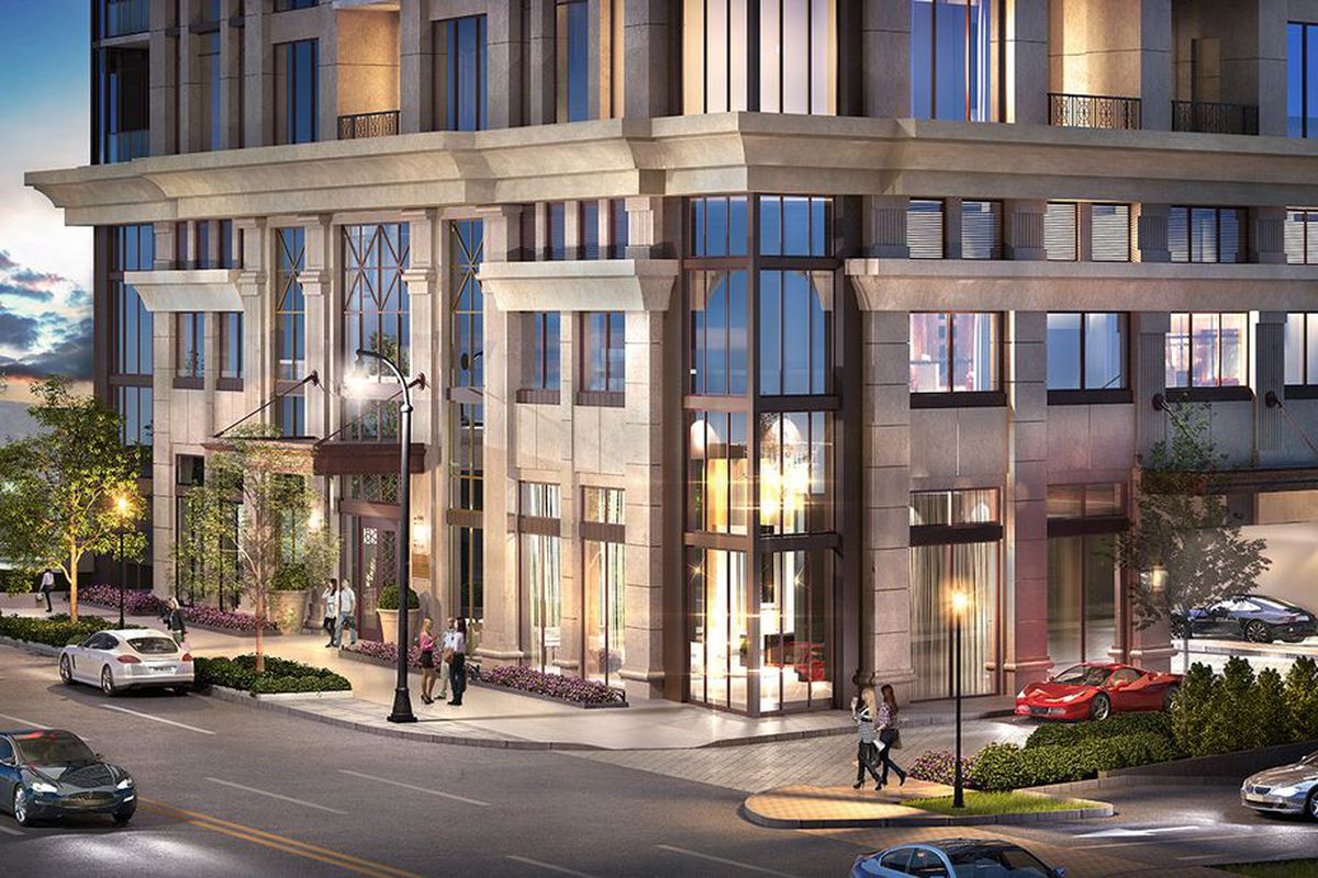 Earlier renderings of the ground floor show the project's leanings toward classic elegance.