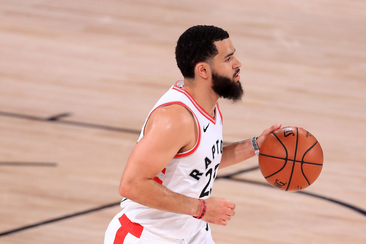 Fred VanVleet of the Toronto Raptors dribbles the ball during the first quarter against the Boston Celtics in Game Seven of the Eastern Conference Second Round during the 2020 NBA Playoffs at AdventHealth Arena at the ESPN Wide World Of Sports Complex on September 11, 2020 in Lake Buena Vista, Florida.