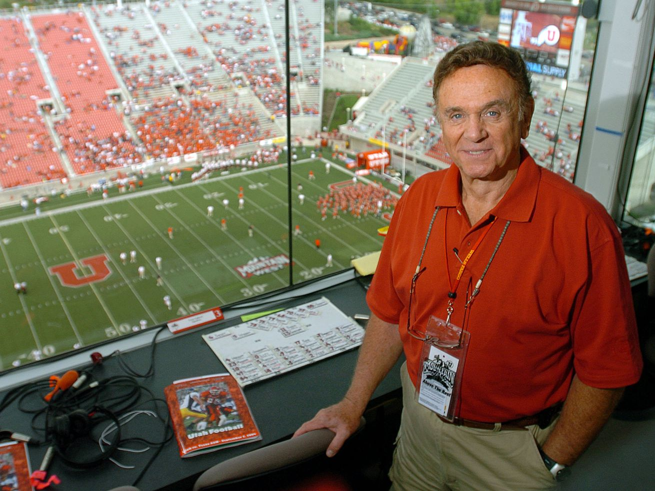 Portrait of Radio personality Bill Marcroft prior to the Texas A&M game Friday September 2, 2004 at Rice Eccles Stadium.