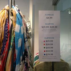 The clothing price list