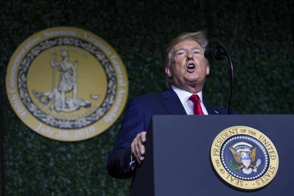 President Donald Trump speaks at an event marking the 400th anniversary of the first representative assembly, Tuesday, July 29, 2019, in Jamestown, Va. (AP Photo/Alex Brandon)