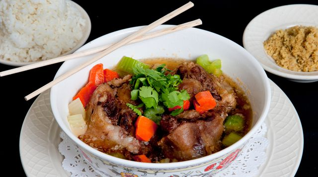 Oxtail soup with chopsticks
