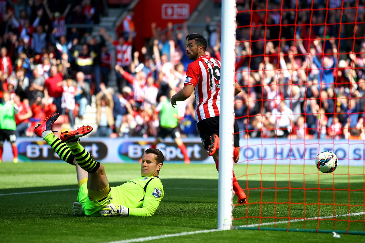 Graziano Pellé scores Southampton's sixth during the trouncing back in May. With Sadio Mané out, Pellé could be the key player for Saints in Wednesday's Capital One Cup Fourth Round fixture.