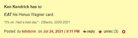 Ken Kendrick has to EAThis Honus Wagner card. 3 recs