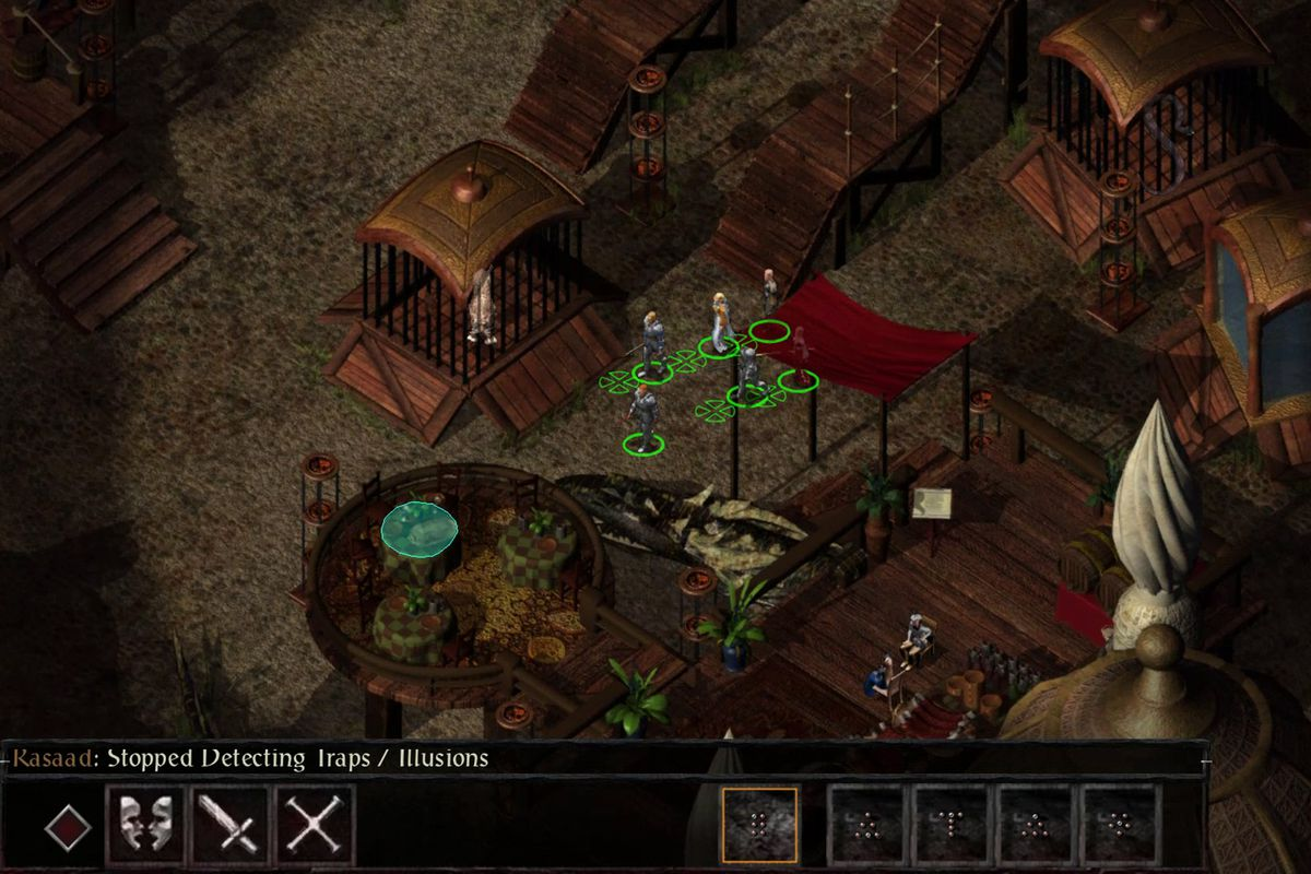 A scene from the bazaar in Baldur's Gate 2.