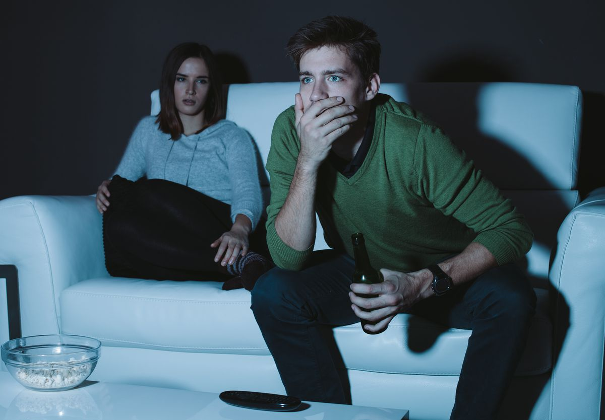 Watching television in a dark room