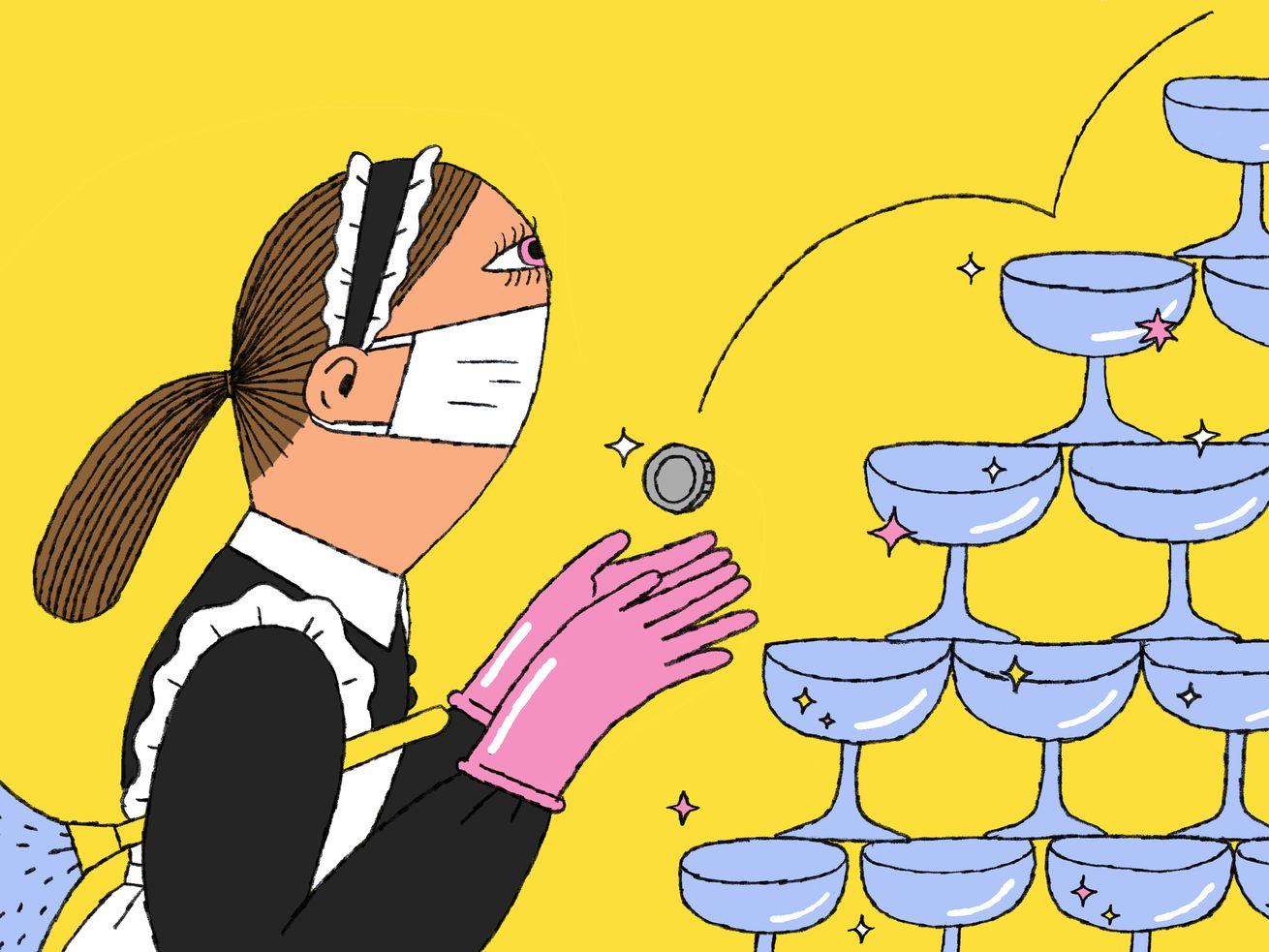 A maid in rubber gloves and a facemask waits patiently as a single coin bounces down a champagne fountain. Illustration.