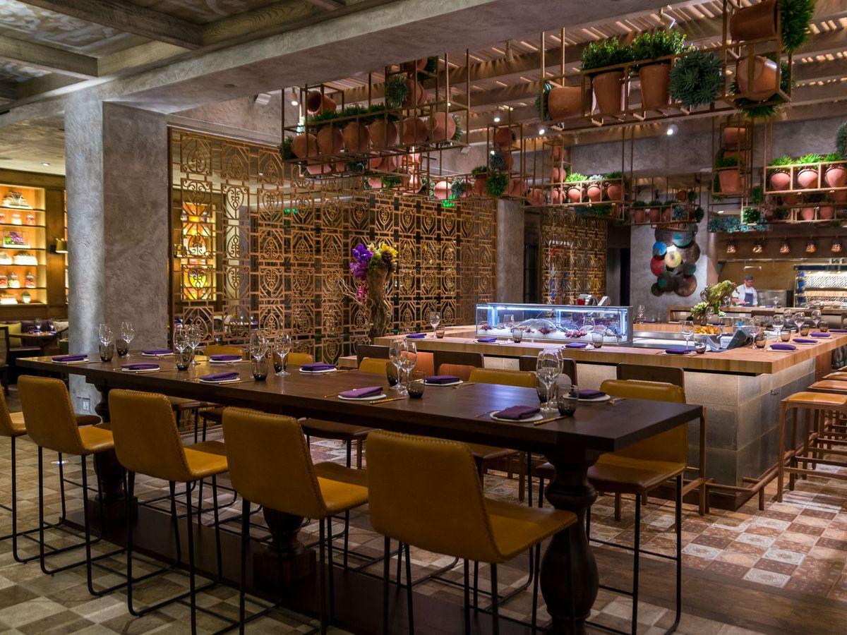 Dimly lit colorful restaurant interior