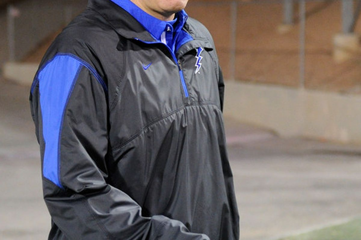 LAS VEGAS - NOVEMBER 18:  Head coach Troy Calhoun of the Air Force Falcons takes the field for a game against the UNLV Rebels at Sam Boyd Stadium November 18 2010 in Las Vegas Nevada. Air Force won 35-20.  (Photo by Ethan Miller/Getty Images)