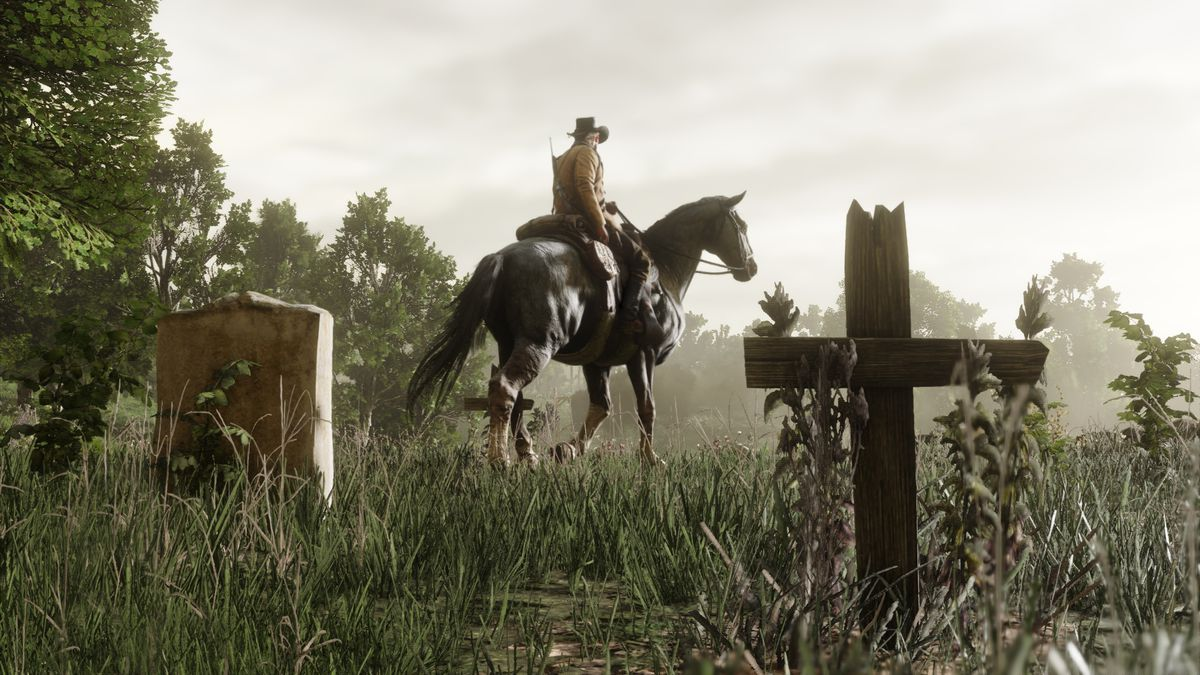 Red Dead Redemption 2 - Arthur Morgan riding through a graveyard