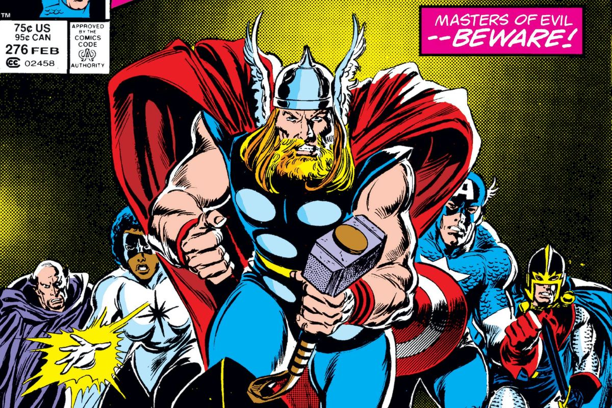 Thor and the Avengers (Captain America, Pulsar, Black Knight, Doctor Druid) charge forward on the cover of Avengers #276, Marvel Comics (1977).