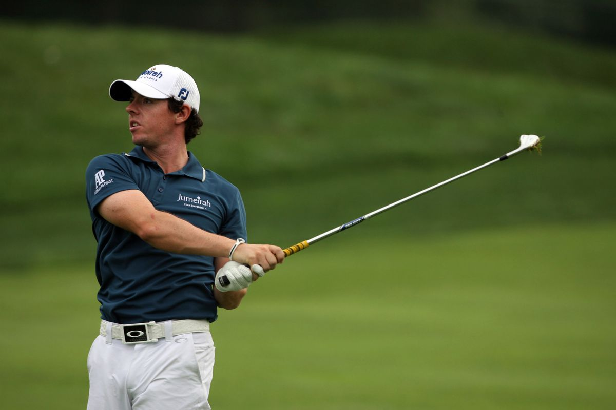 Sep 5, 2012; Carmel, IN, USA; Rory McIlroy hits a shot out of the fairway during the Pro-Am before the BMW Championship at Crooked Stick Golf Club. Mandatory Credit: Brian Spurlock-US PRESSWIRE