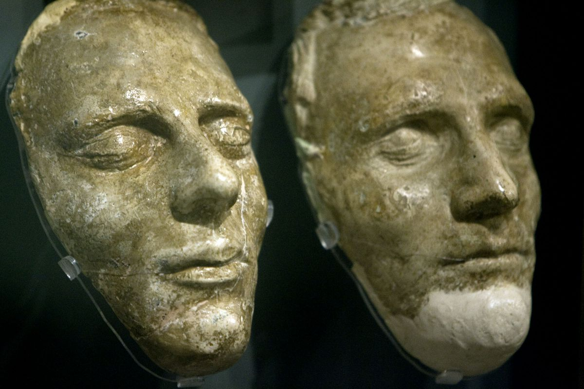 The death masks of Joseph Smith and his brother Hyrum Smith at the Church History Museum of the Church of Jesus Christ of Latter-day Saints in Salt Lake City, Utah Friday, Sept., 4, 2009. A new book with essays offers insights into the prophet's life from Joseph Smith Paper's research.